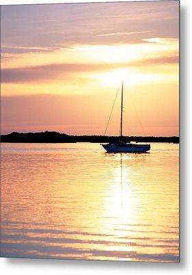 Moored Boat At Sunset Florida Keys Fl Metal Print