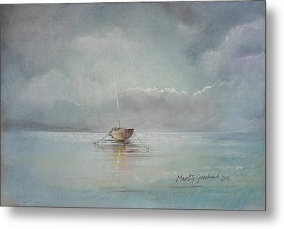 Moored Boat Metal Print by Marty Garland
