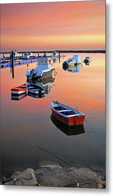 Moored Boats On Sea At Sunset Metal Print by Juampiter