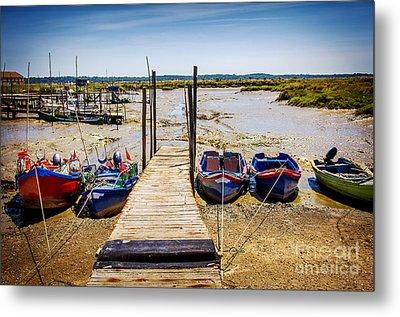 Moored Fishing Boats Metal Print by Carlos Caetano