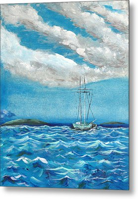 Metal Print featuring the painting Moored In The Bay by J R Seymour
