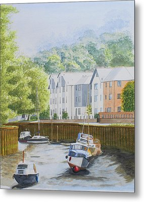 Moorings At Totnes Metal Print