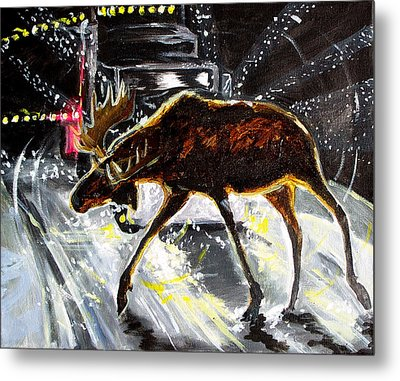 Moose Crossing Metal Print by Jenn Cunningham