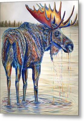 Moose Gathering, 2 Piece Diptych- Piece 1- Left Panel Metal Print