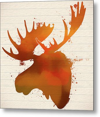 Moose Head Autumn Paint Metal Print