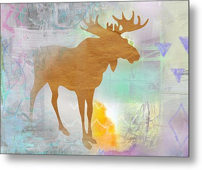 Moose In The Fog  Metal Print