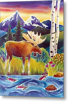 Moose On Trout Creek Metal Print by Harriet Peck Taylor
