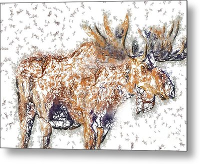 Metal Print featuring the digital art Moose-sticks by Elaine Ossipov