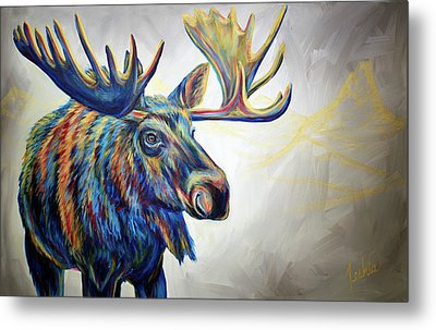 Moose'n Around Metal Print by Teshia Art