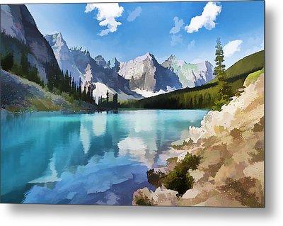 Moraine Lake At Banff National Park Metal Print by Lanjee Chee
