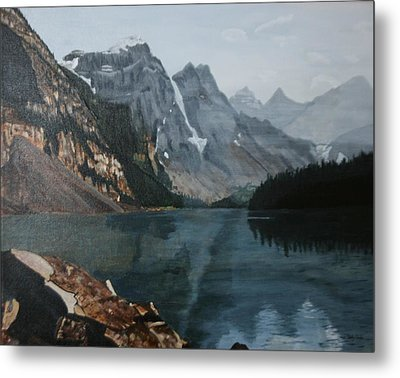 Metal Print featuring the painting Moraine Lake by Betty-Anne McDonald