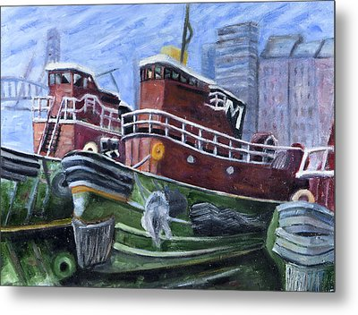 Moran Tugboats. Portsmouth New Hampshire Metal Print by Maurice Pelissier