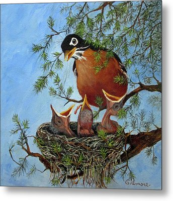 Metal Print featuring the painting More Food by Roseann Gilmore
