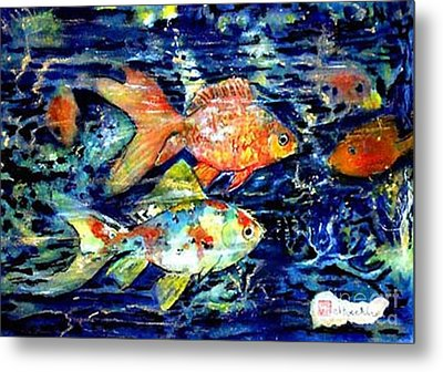 More Gold Fish Metal Print by Norma Boeckler