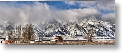 Metal Print featuring the photograph Mormon Row Early Winter Panorama by Adam Jewell