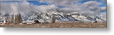 Metal Print featuring the photograph Mormon Row Extended Panorama by Adam Jewell