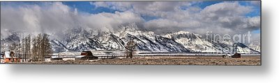 Metal Print featuring the photograph Mormon Row Snowy Extended Panorama by Adam Jewell