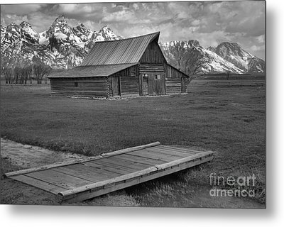 Mormon Row Water Crossing Black And White Metal Print by Adam Jewell