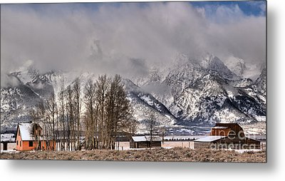 Metal Print featuring the photograph Mormon Row Winter Morning Panorama by Adam Jewell