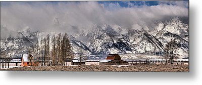 Metal Print featuring the photograph Mormon Row Winter Panorama by Adam Jewell