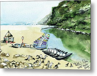 Metal Print featuring the painting Morning At Porto Novo Beach by Dora Hathazi Mendes