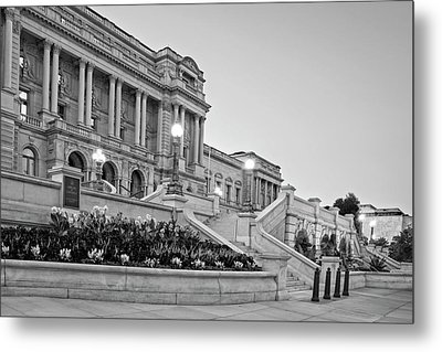 Morning At The Library Of Congress In Black And White Metal Print by Greg Mimbs
