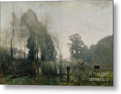 Morning At Ville Davray Metal Print by Jean Baptiste Camille Corot