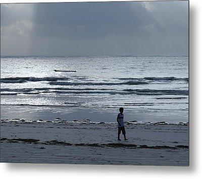 Morning Beach Walk On A Grey Day - Lone Dhow Metal Print