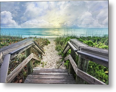 Metal Print featuring the photograph Morning Blues At The Dune by Debra and Dave Vanderlaan