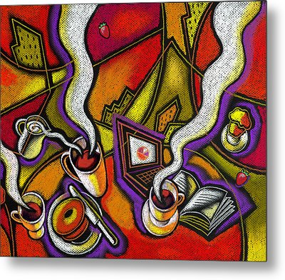 Metal Print featuring the painting Morning Coffee And Internet by Leon Zernitsky