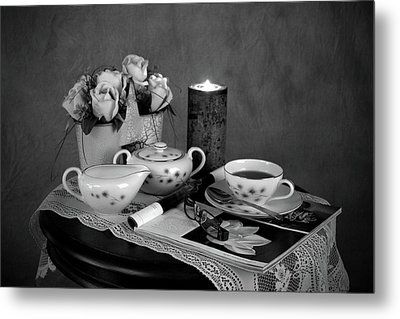 Morning Coffee And Reading Magazine Time Metal Print by Sherry Hallemeier