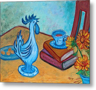Metal Print featuring the painting Morning Coffee Rooster by Xueling Zou
