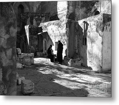 Morning Conversation In Bw Metal Print