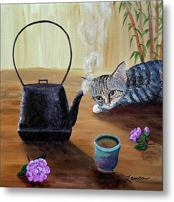 Morning Cup Of Tea Metal Print by Laura Iverson