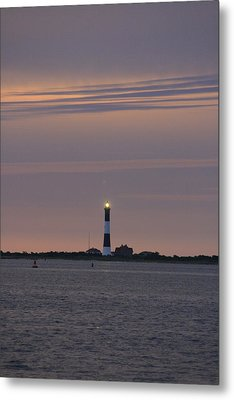 Morning Flash Of Fire Island Light Metal Print by Christopher Kirby
