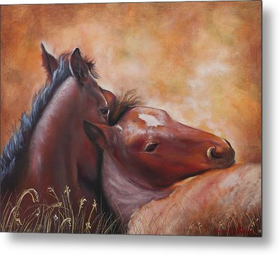 Morning Foals Metal Print by Karen Kennedy Chatham