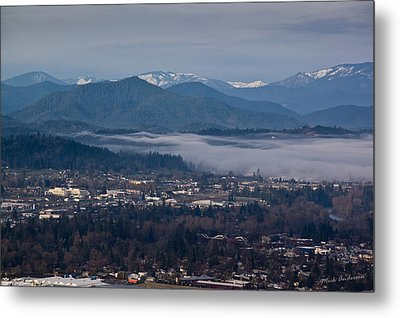 Morning Fog Over Grants Pass Metal Print