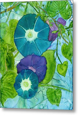 Morning Glories In Watercolor On Yupo Metal Print