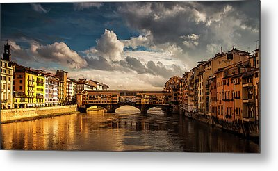 Morning Glow On Ponte Vecchio Metal Print by Andrew Soundarajan