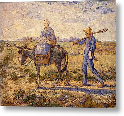 Morning Going Out To Work Metal Print by Vincent Van Gogh