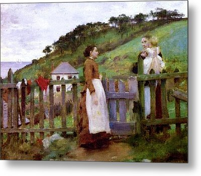Metal Print featuring the painting Morning Gossip by Henry Scott Tuke