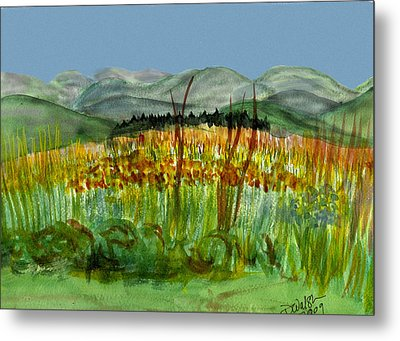 Metal Print featuring the painting Morning In Backyard At Barton by Donna Walsh