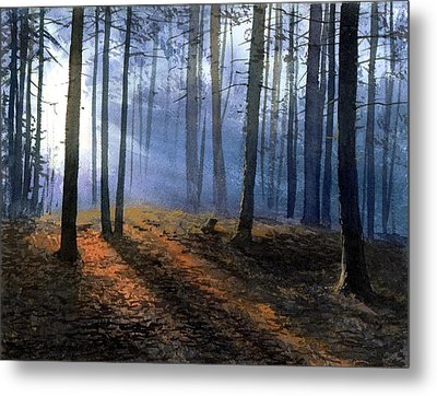 Metal Print featuring the painting Morning In Pine Forest by Sergey Zhiboedov