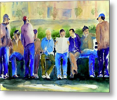 Morning Meeting In Portsmouth Square Metal Print by Tom Simmons