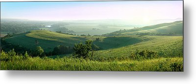 Morning Mist - Kansas River Valley Metal Print by Rod Seel