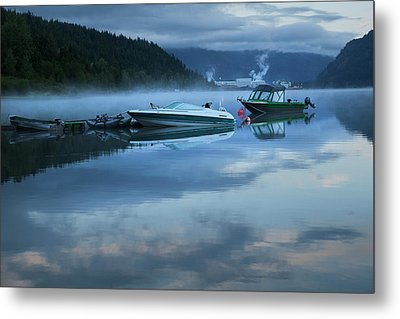 Metal Print featuring the photograph Morning Mist Adams Lake by Theresa Tahara