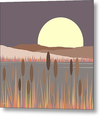 Morning Moon Metal Print