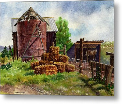 Metal Print featuring the painting Morning On The Farm by Anne Gifford