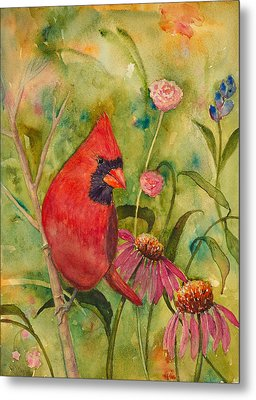 Morning Perch In Red Metal Print by Renee Chastant