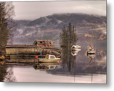 Morning Reflections Of Loch Ness Metal Print by Ian Middleton